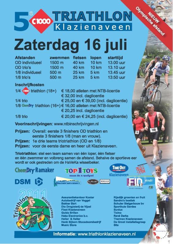 2011: poster van de triathlon van Klazinaveen met een foto van Lammert
